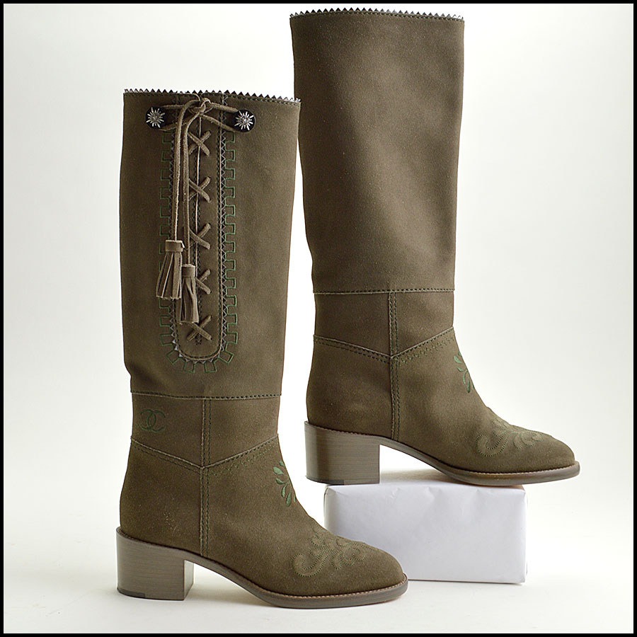 RDC8858 Chanel Green Boots side