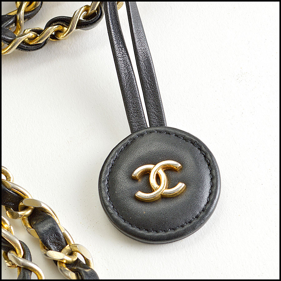 RDC8423 Chanel Vintage Black Leather Chain Strap Tote Bag extras