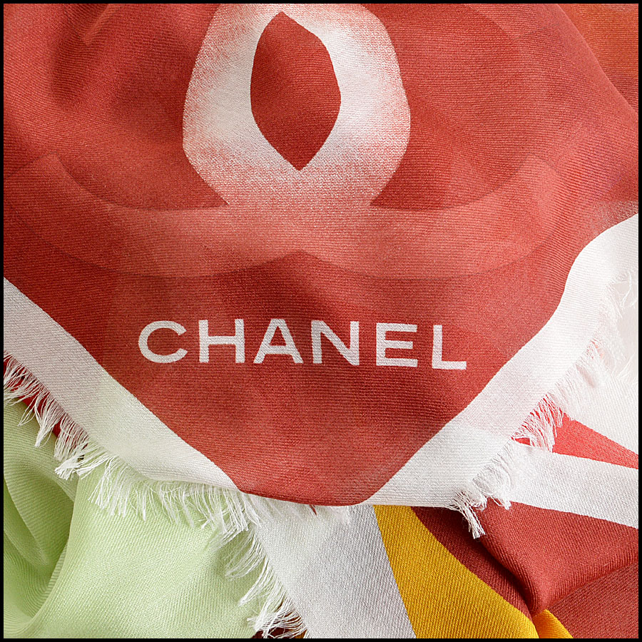 Chanel Multicolor GM Shawl Scarf Authentic Logo