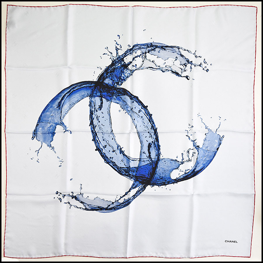 RDC9738 Chanel Summer '18 Grey & Blue Timeless Splash 90cm Silk Scarf