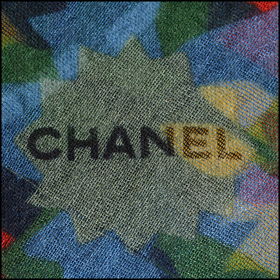Chanel White Floral Long Scarf Branding