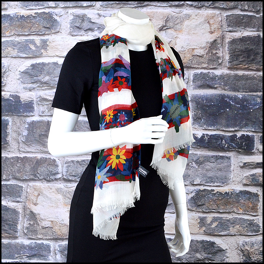 Chanel White Floral Long Scarf Mannequin