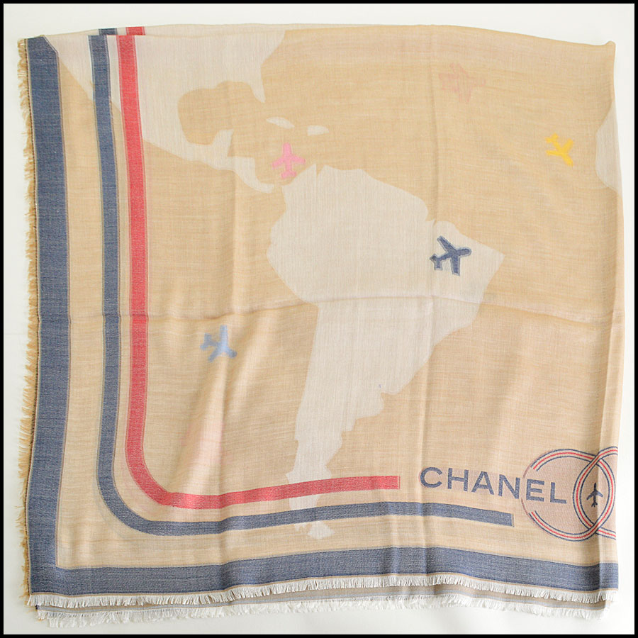 RDC8011 Chanel Khaki and Blue fly around the world shawl