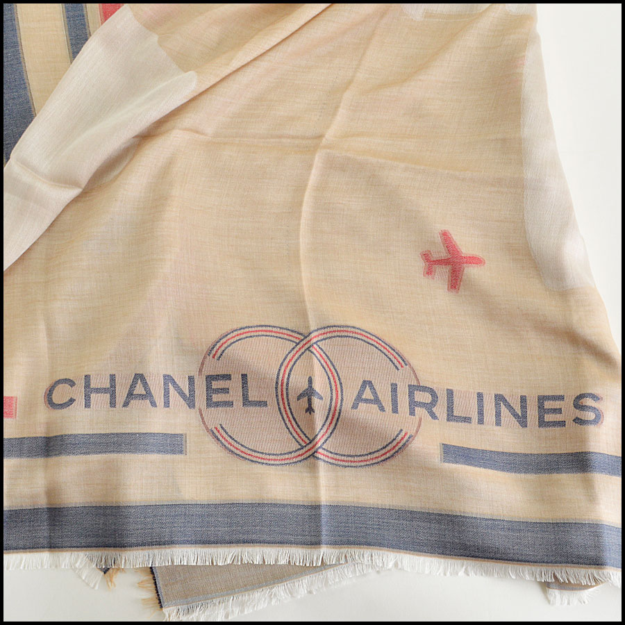 RDC8011 Chanel Khaki and Blue fly around the world shawl title