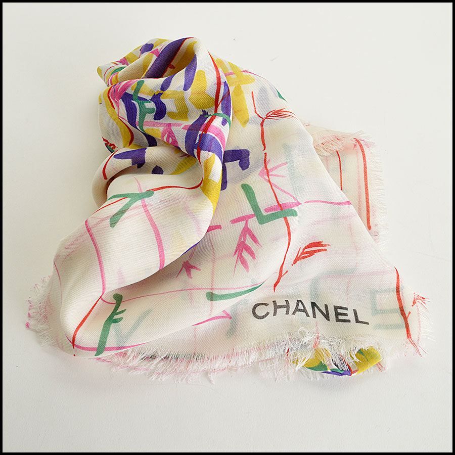 RDC8020 Chanel cream/yellow brush strokes shawl fold