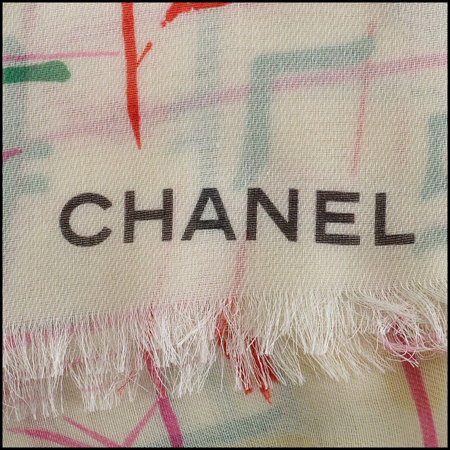 RDC8020 Chanel cream/yellow brush strokes shawl logo