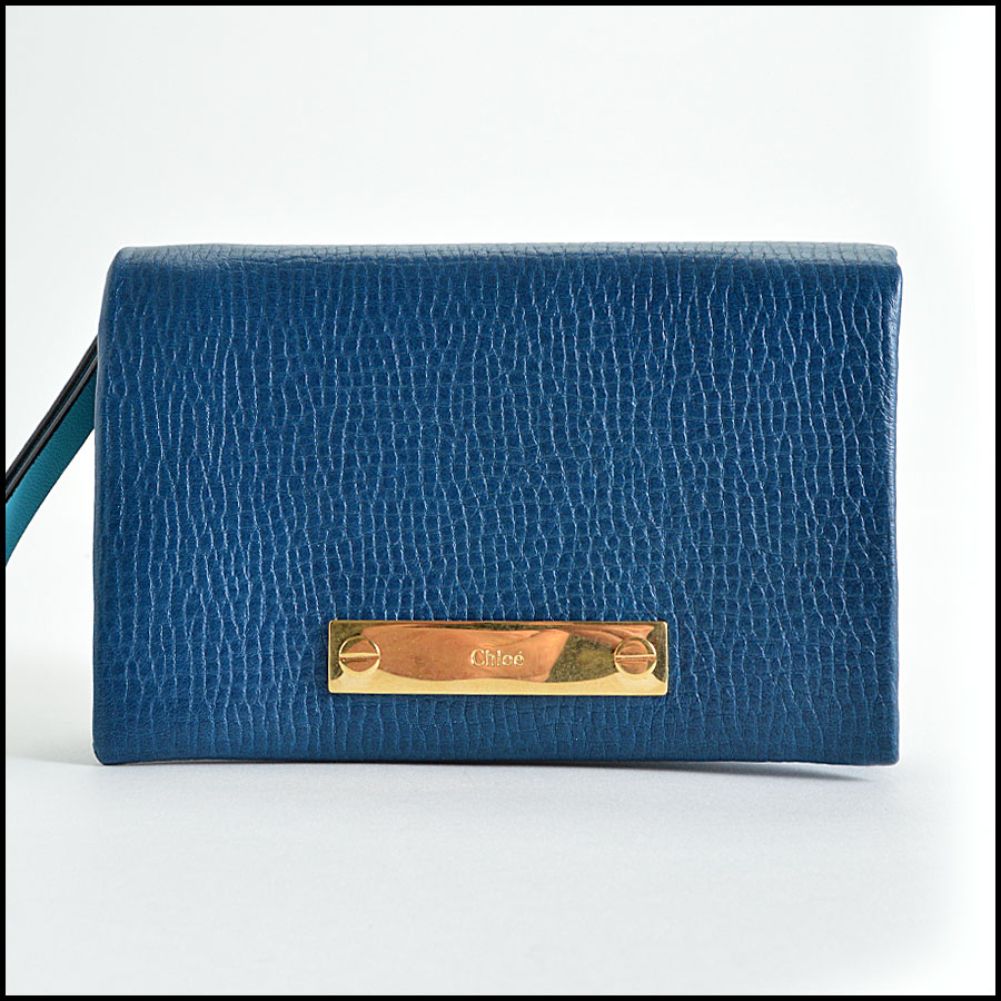 Chloe Blue Small Foldover Wallet Handbag Authentic