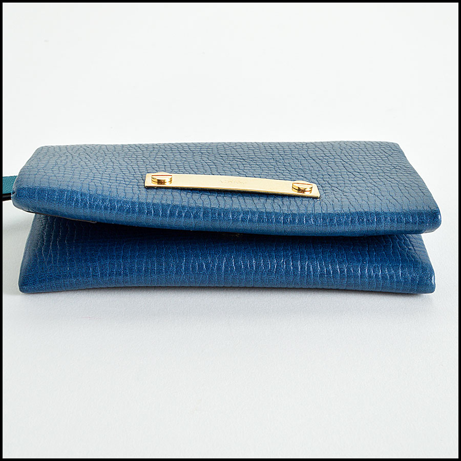 Chloe Blue Small Foldover Wallet Handbag Bottom