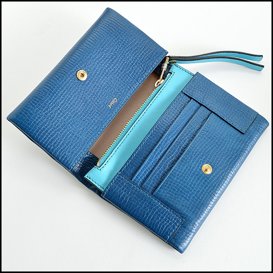 Chloe Blue Small Foldover Wallet Handbag Inside1