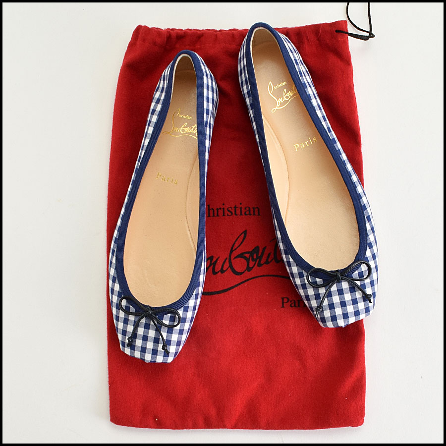 RDC9423 Christian Louboutin Navy & White Gingham Ballet Flats  includes