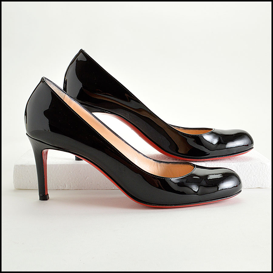 RDC8185 Louboutin Black Patent Leather Simple Pumps