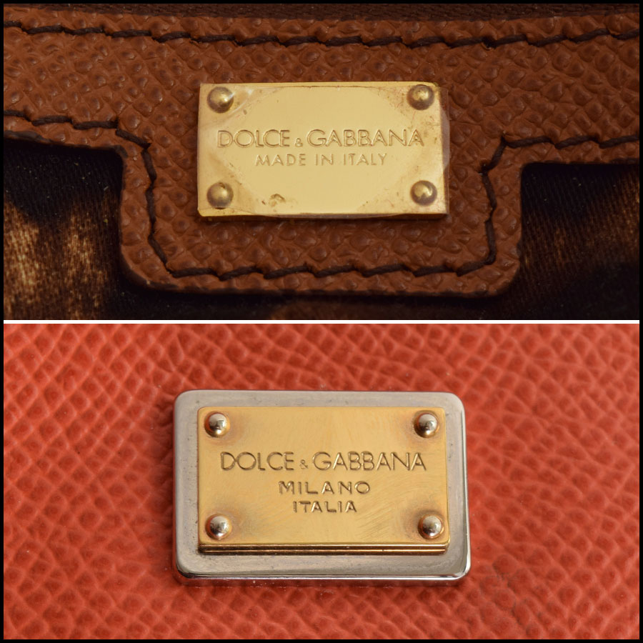 RDC9371 Dolce and Gabbana Orange/Tan Tote Bag tag