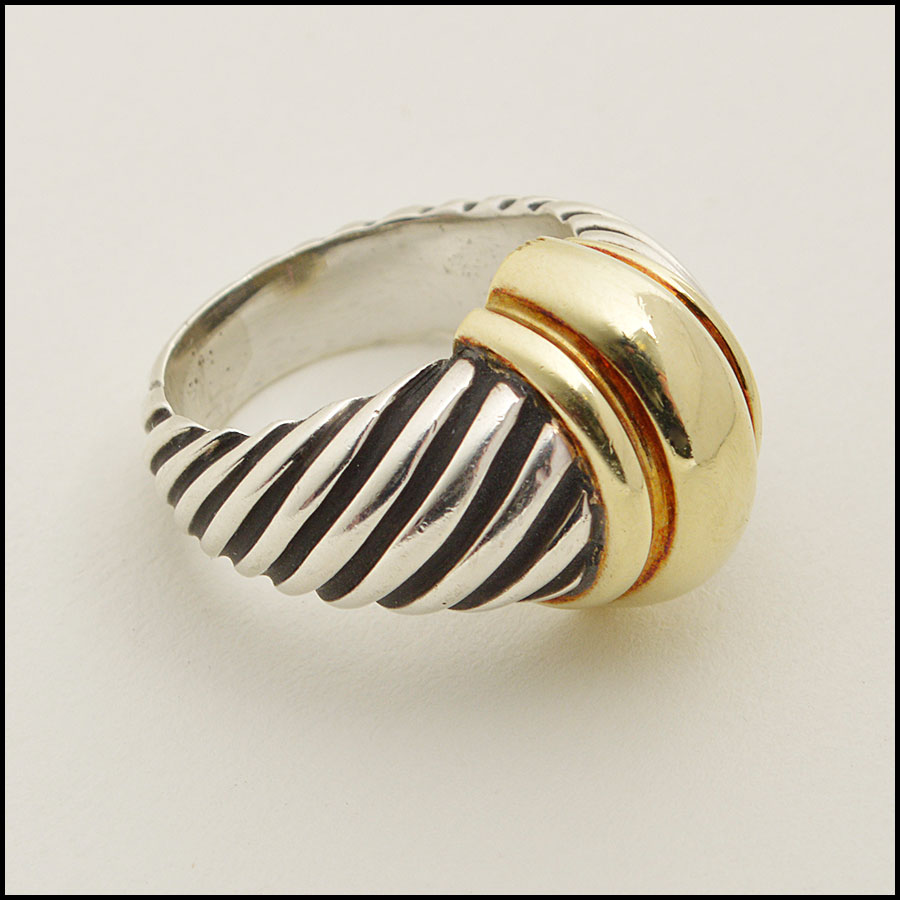 RDC8594 David Yurman Sterling Silver and Gold Cable Dome Ring