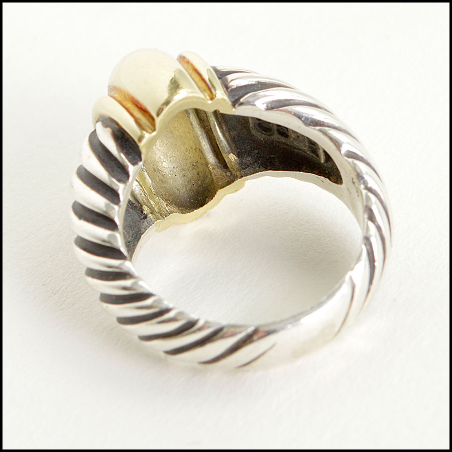 RDC8594 David Yurman Sterling Silver and Gold Cable Dome Ring back