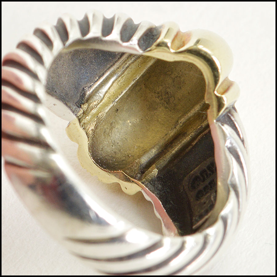RDC8594 David Yurman Sterling Silver and Gold Cable Dome Ring inside