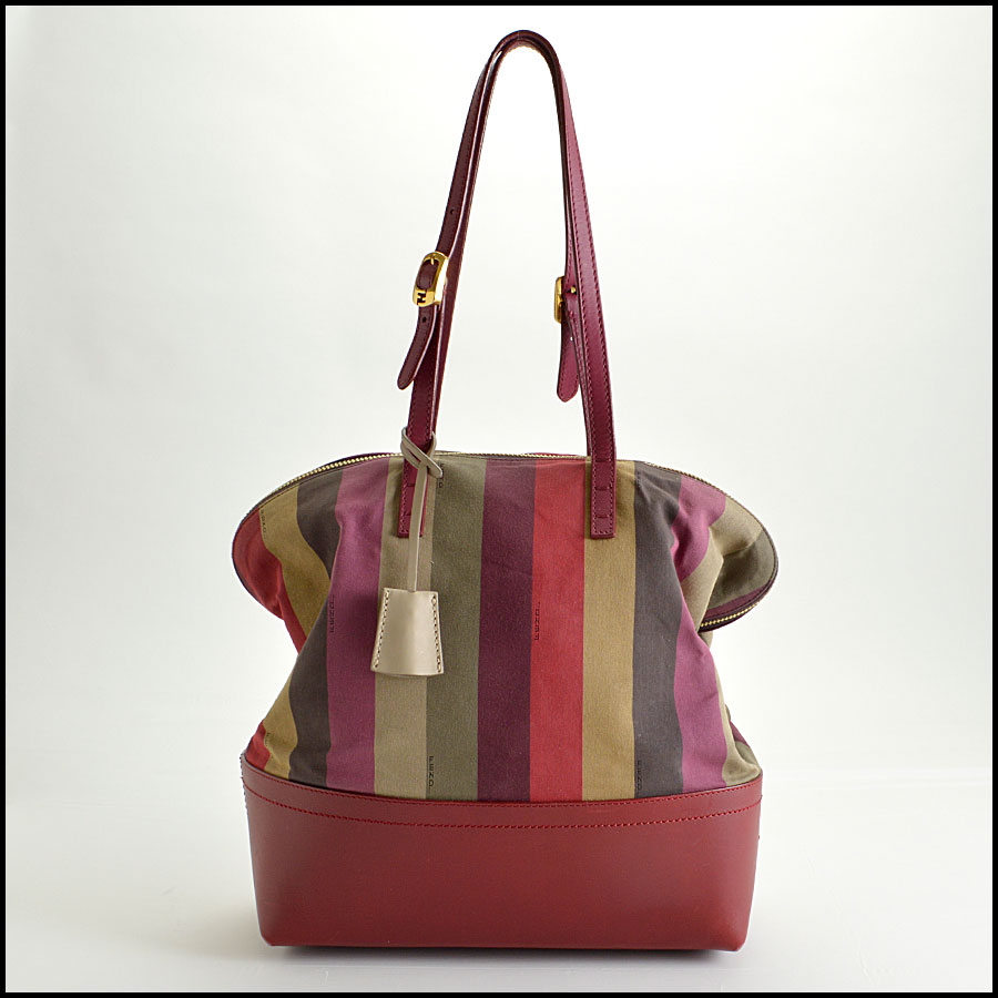 RDC8420 Fendi Pequin Canvas and Leather Tote