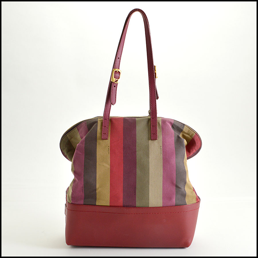RDC8420 Fendi Pequin Canvas and Leather Tote back