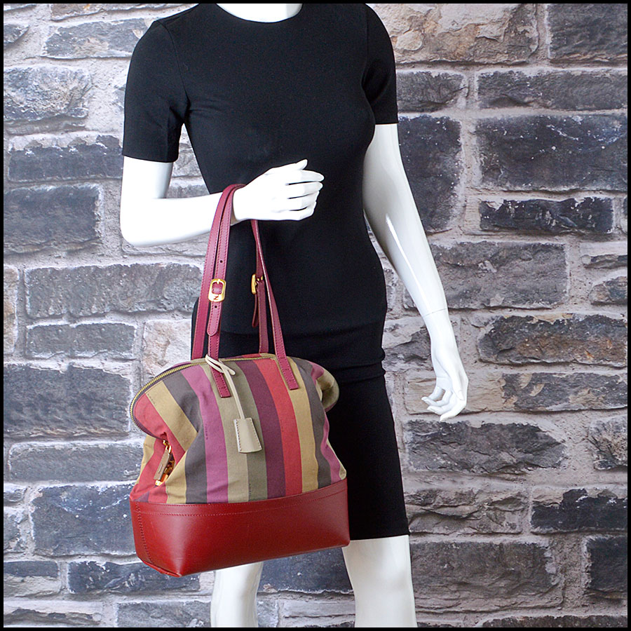 RDC8420 Fendi Pequin Canvas and Leather Tote model