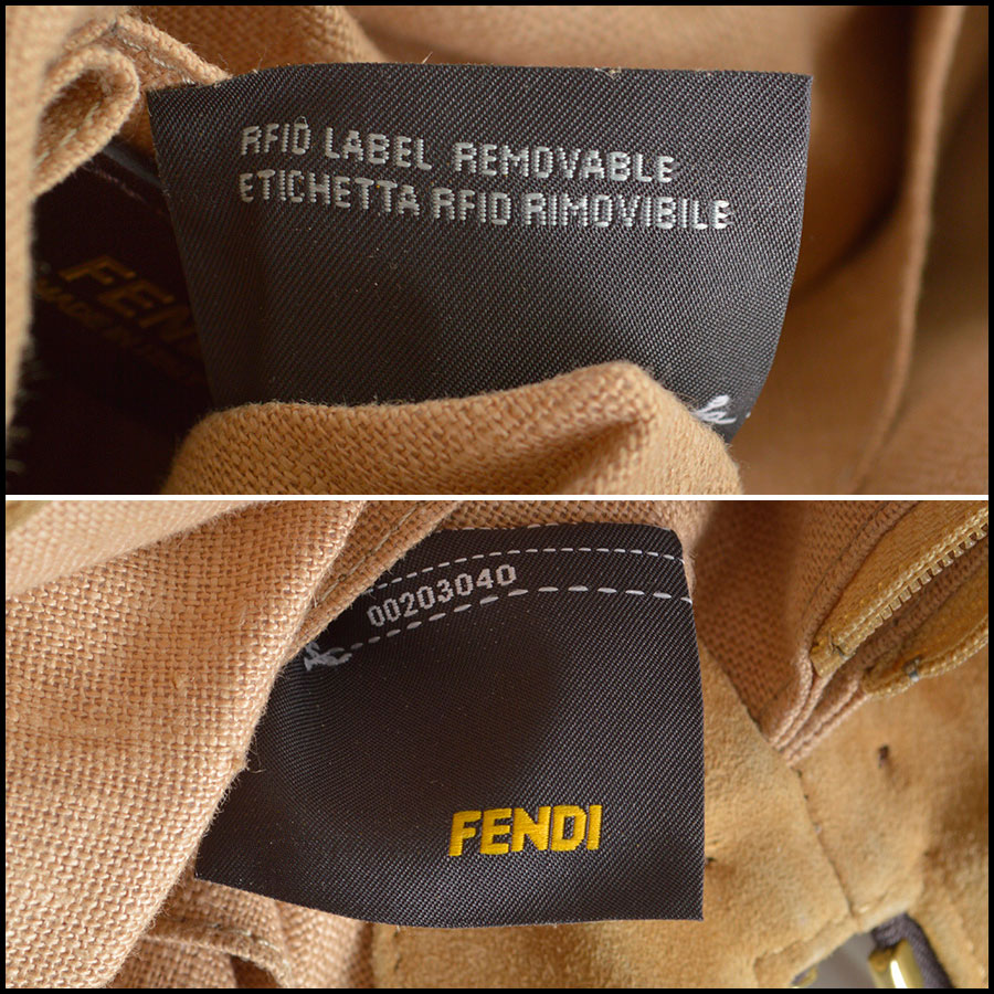 RDC8420 Fendi Pequin Canvas and Leather Tote tag 3