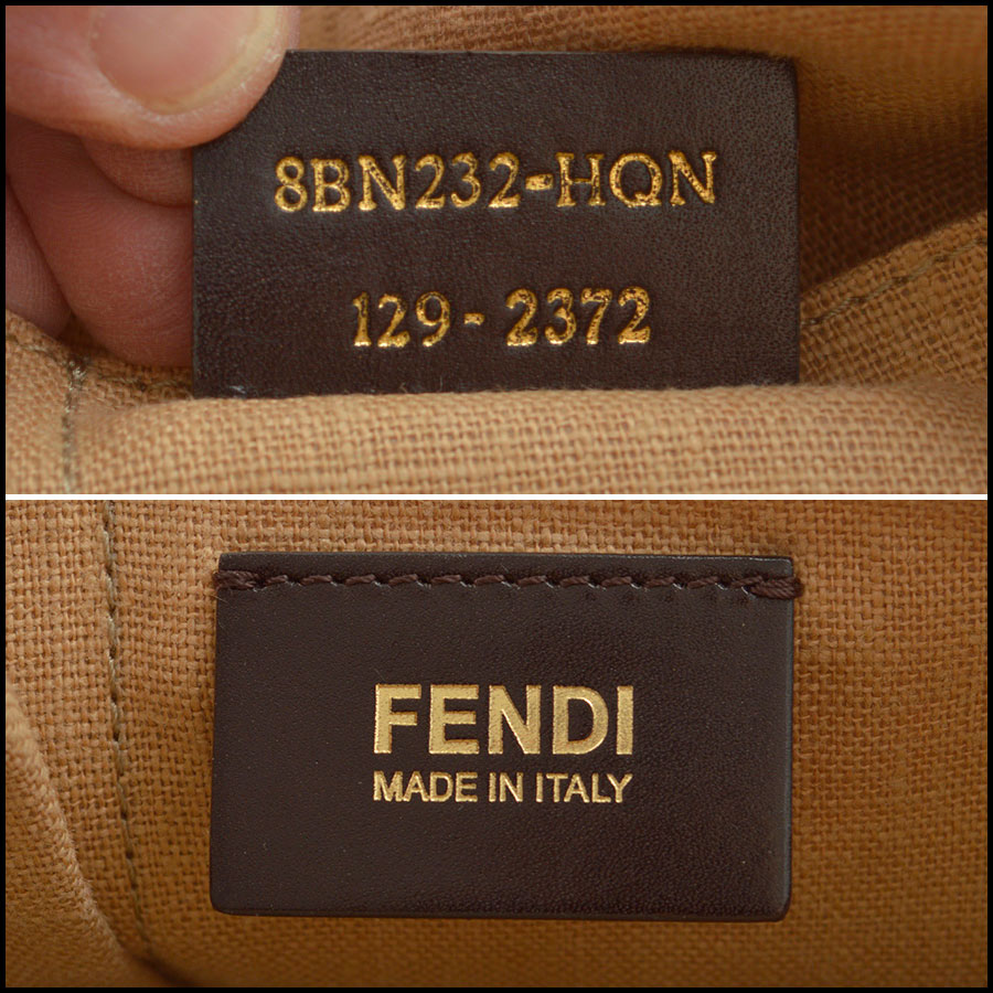 RDC8420 Fendi Pequin Canvas and Leather Tote tag 4
