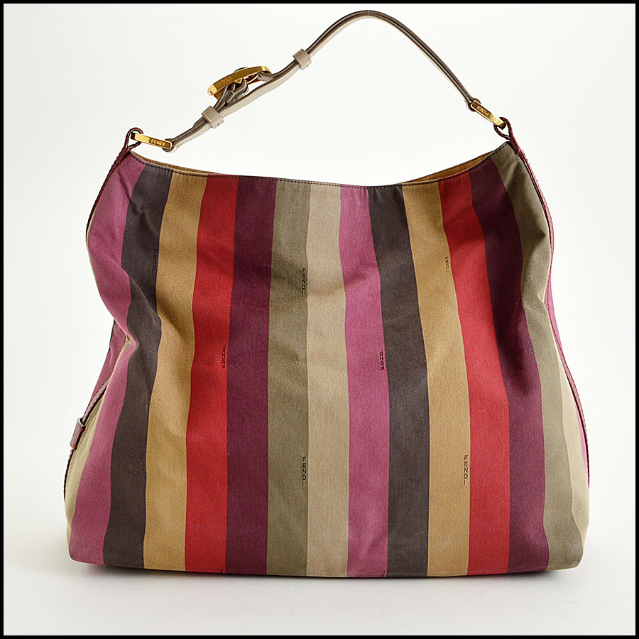 Fendi Striped Pequin Shoulder Bag