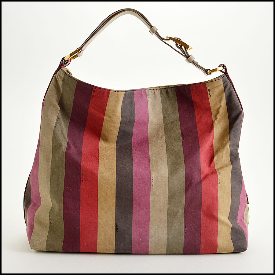 Fendi Striped Pequin Shoulder Bag Back