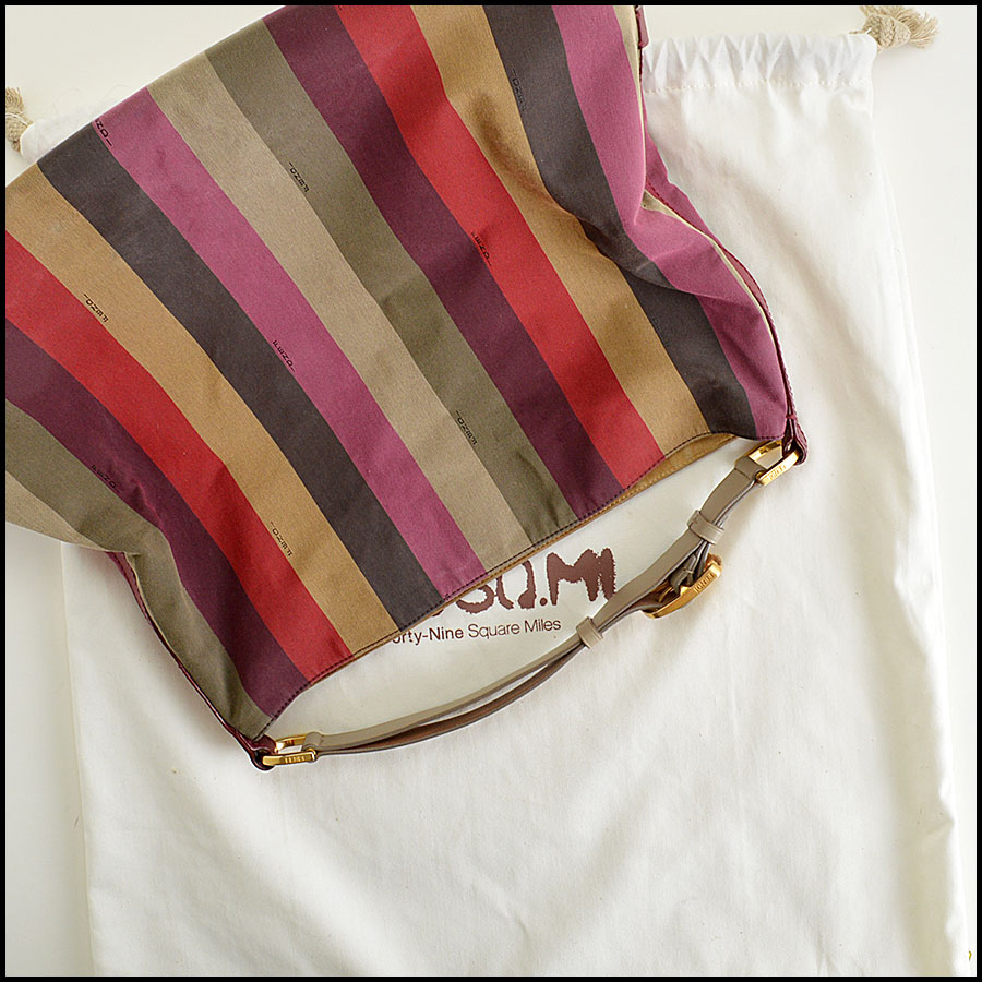 Fendi Striped Pequin Shoulder Bag Extras