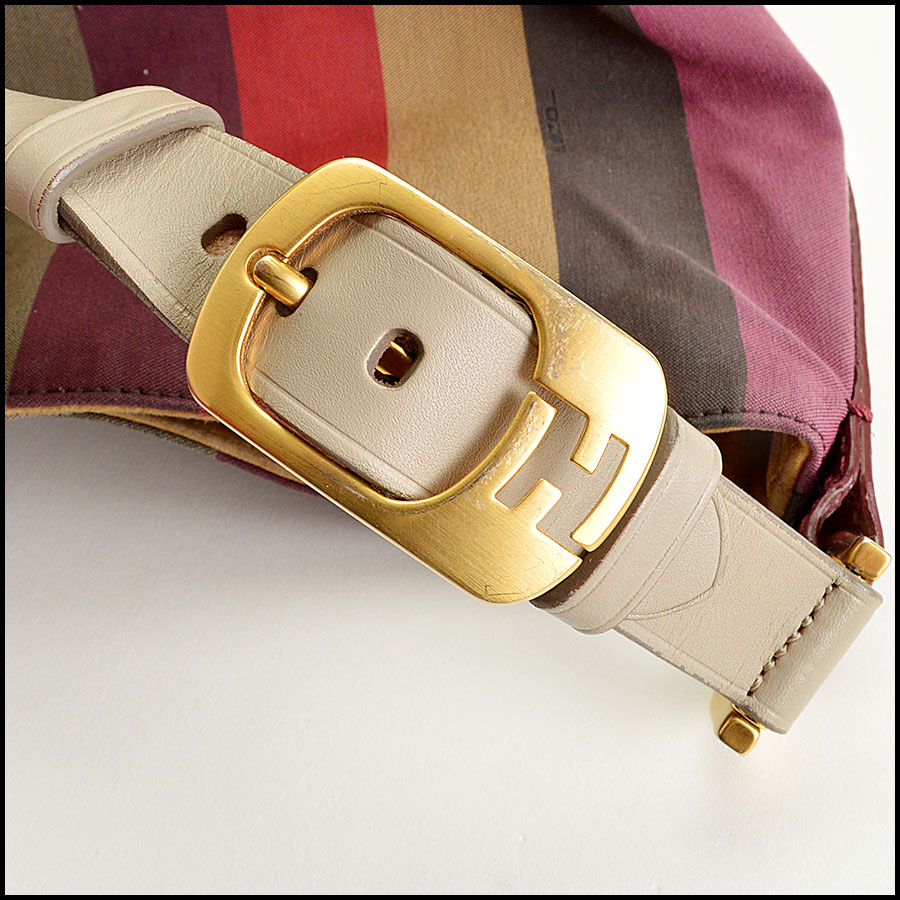 Fendi Striped Pequin Shoulder Bag Handles2