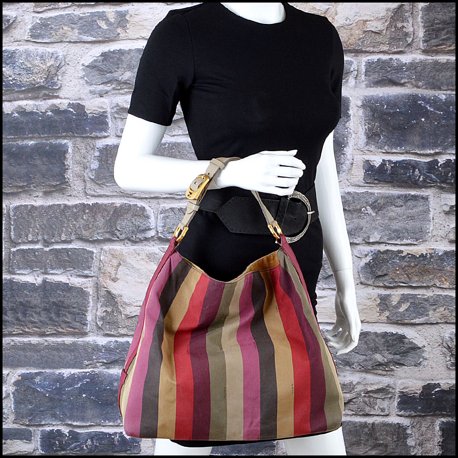 Fendi Striped Pequin Shoulder Bag Mannequin