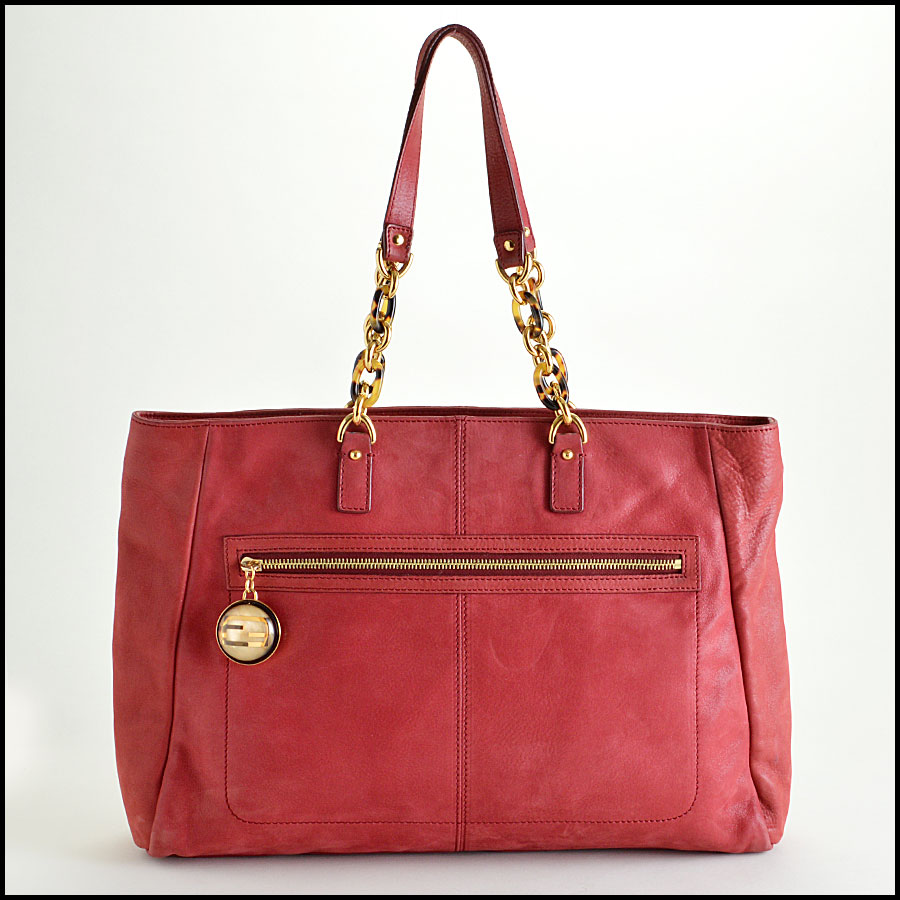 Fendi Red Nubuck Tote Bag