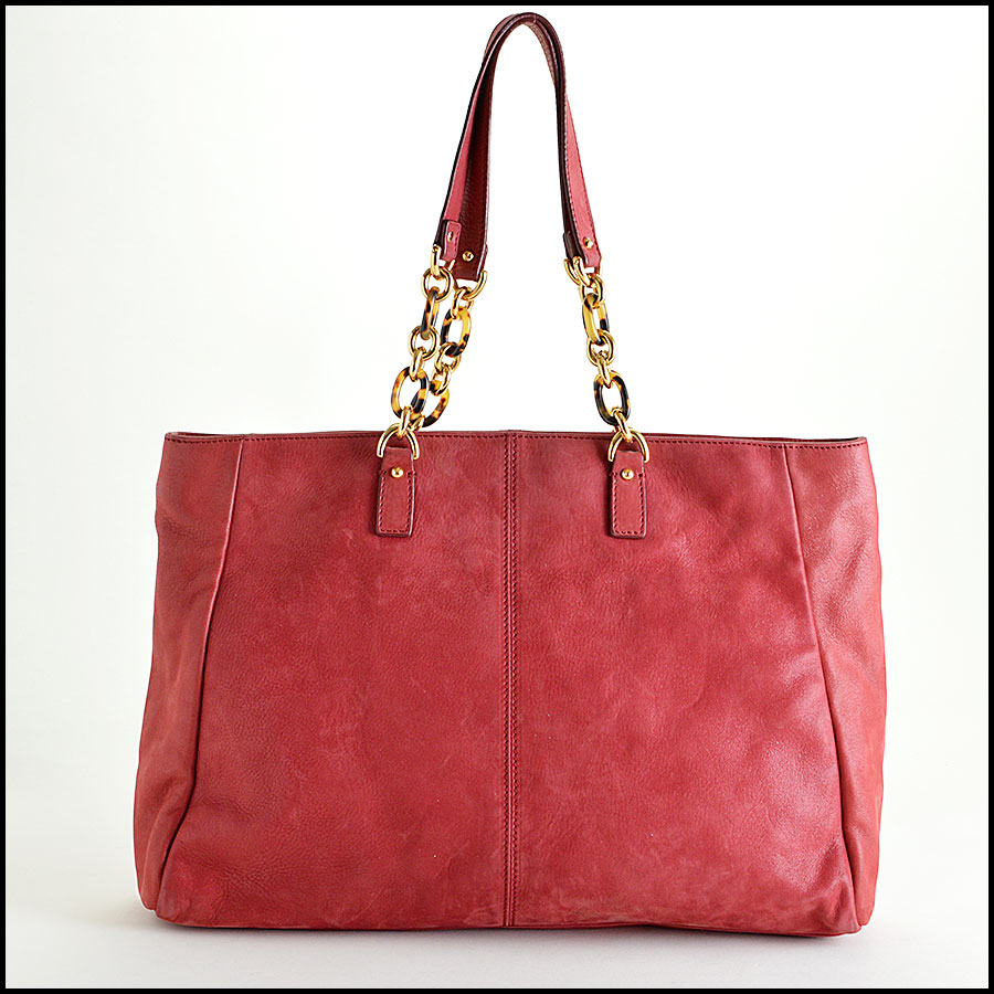 Fendi Red Nubuck Tote Bag Back