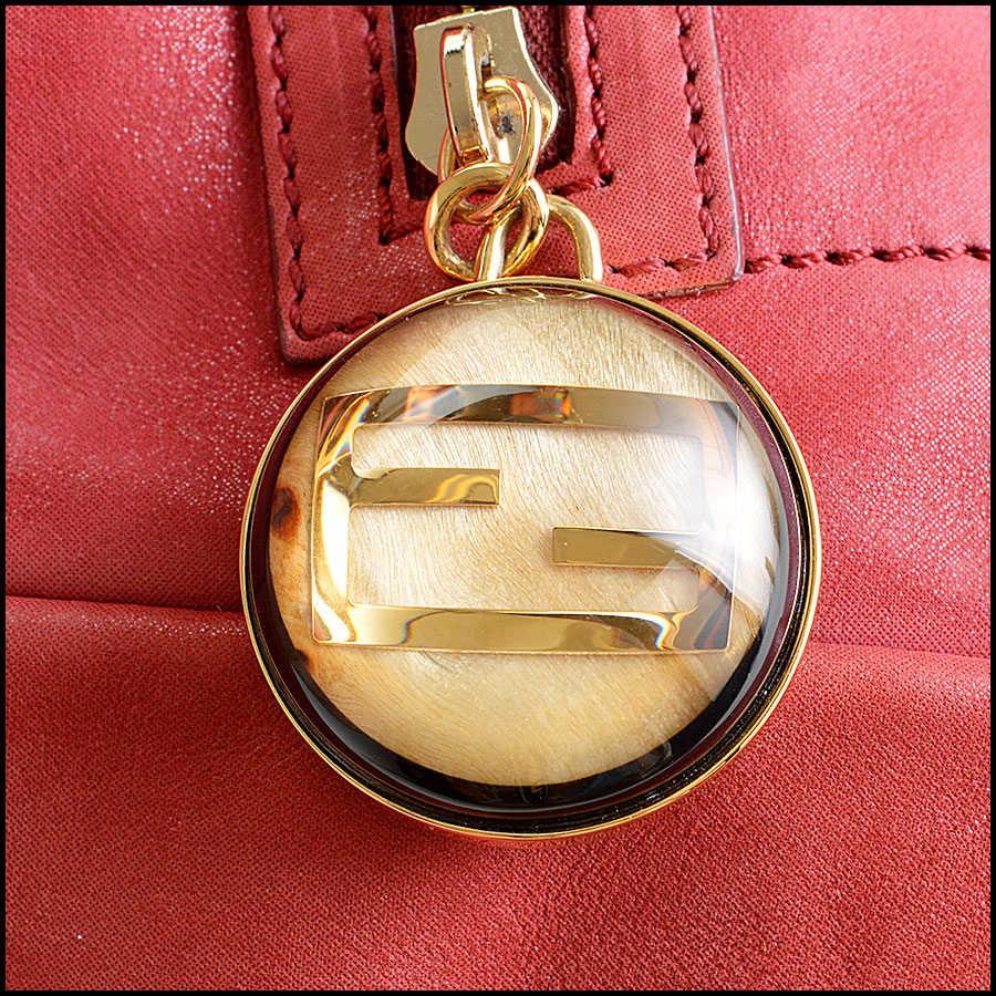 Fendi Red Nubuck Tote Bag Closeup