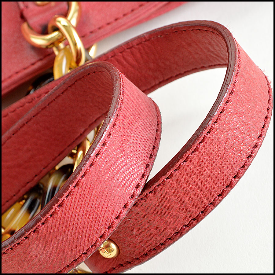 Fendi Red Nubuck Tote Bag Handles