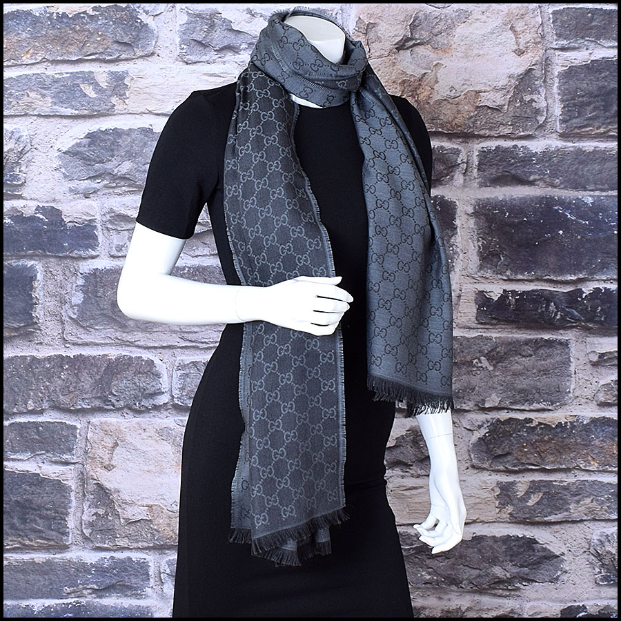 RDC9495 Gucci Charcoal Grey and Black GG Monogram Wool Stole model