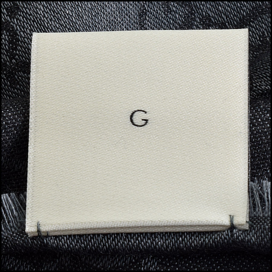 RDC9495 Gucci Charcoal Grey and Black GG Monogram Wool Stole tag 1