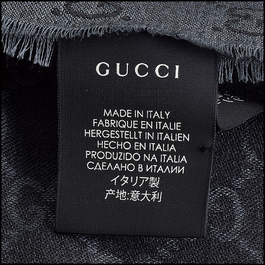 RDC9495 Gucci Charcoal Grey and Black GG Monogram Wool Stole tag 5