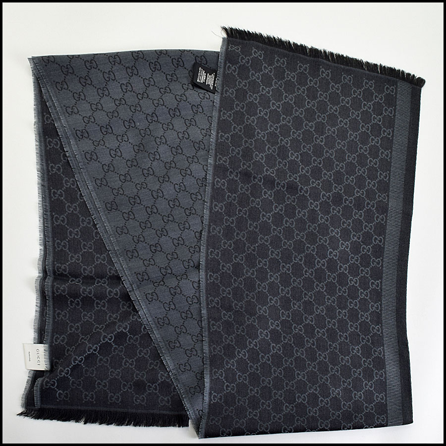 RDC9495 Gucci Charcoal Grey and Black GG Monogram Wool Stole