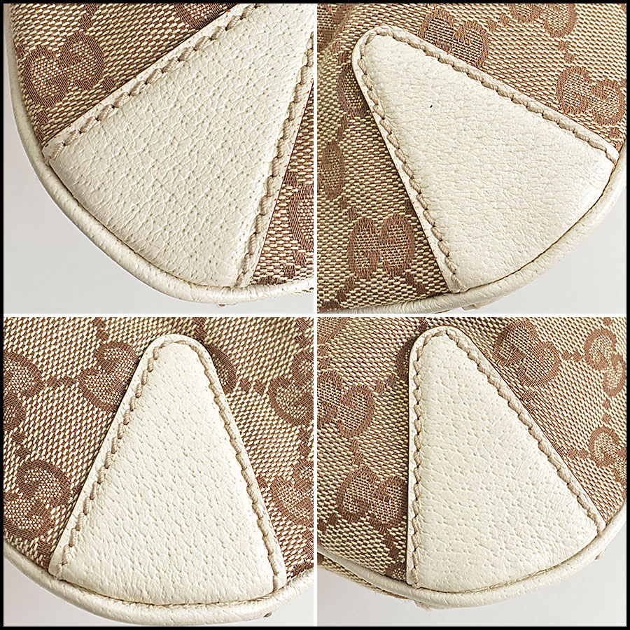 RDC8577 Gucci Beige GG Canvas Creole Hobo Bag corners