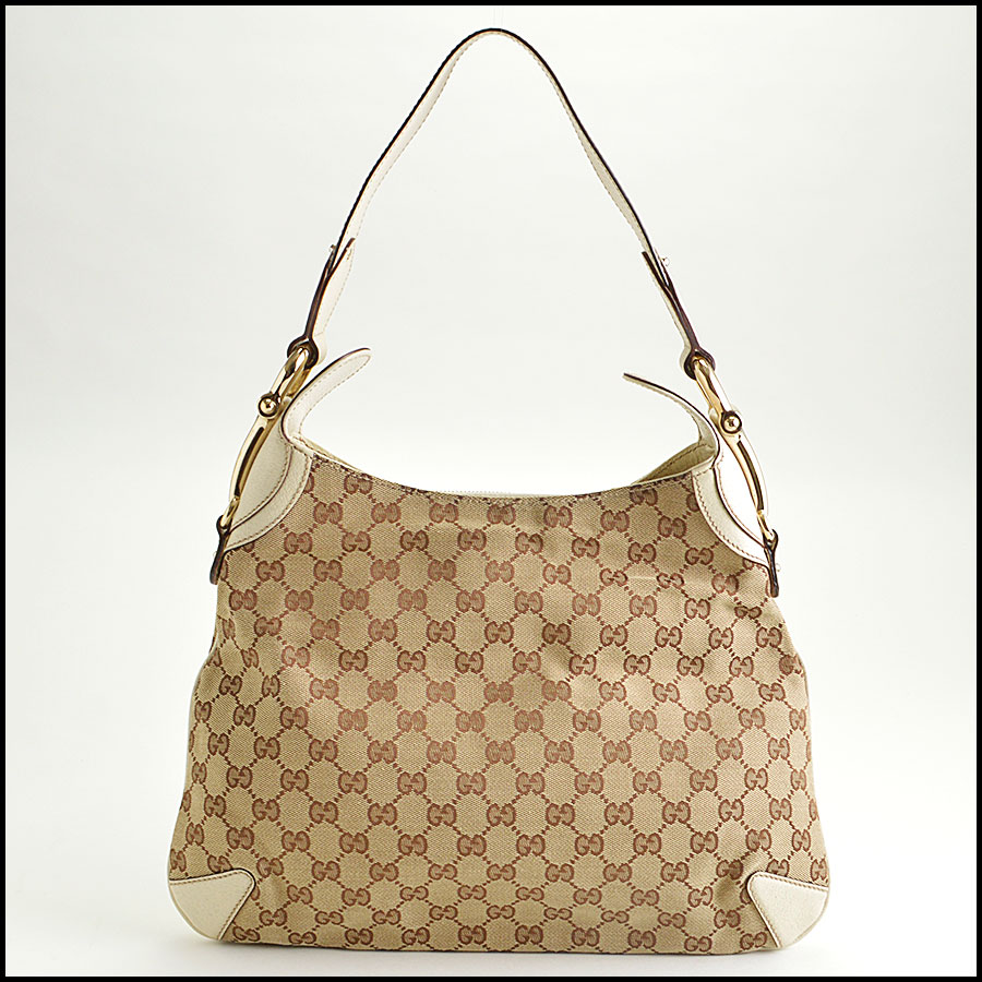 RDC8577 Gucci Beige GG Canvas Creole Hobo Bag back