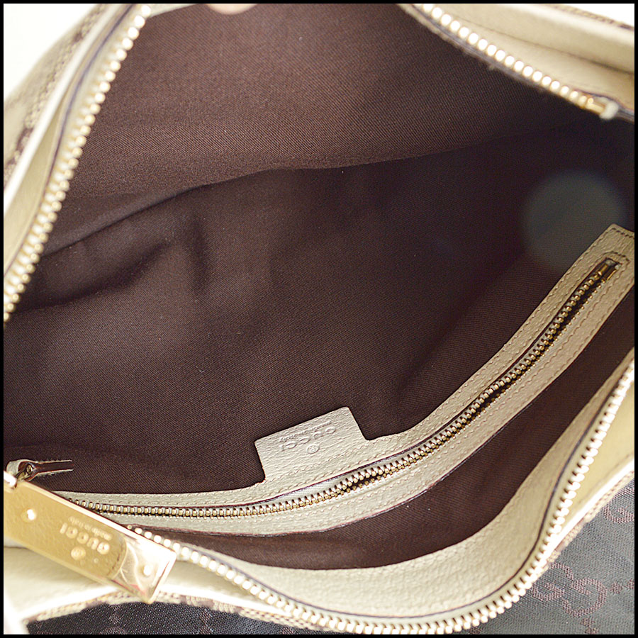 RDC8577 Gucci Beige GG Canvas Creole Hobo Bag inside
