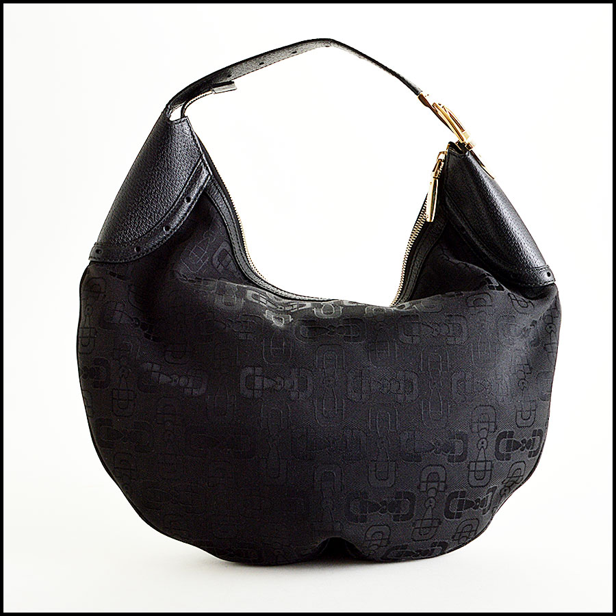Gucci Black Horsebit Hobo Bag