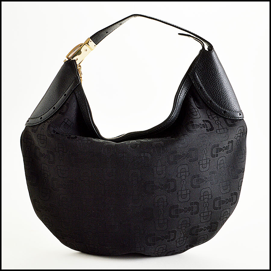 Gucci Black Horsebit Hobo Bag Back