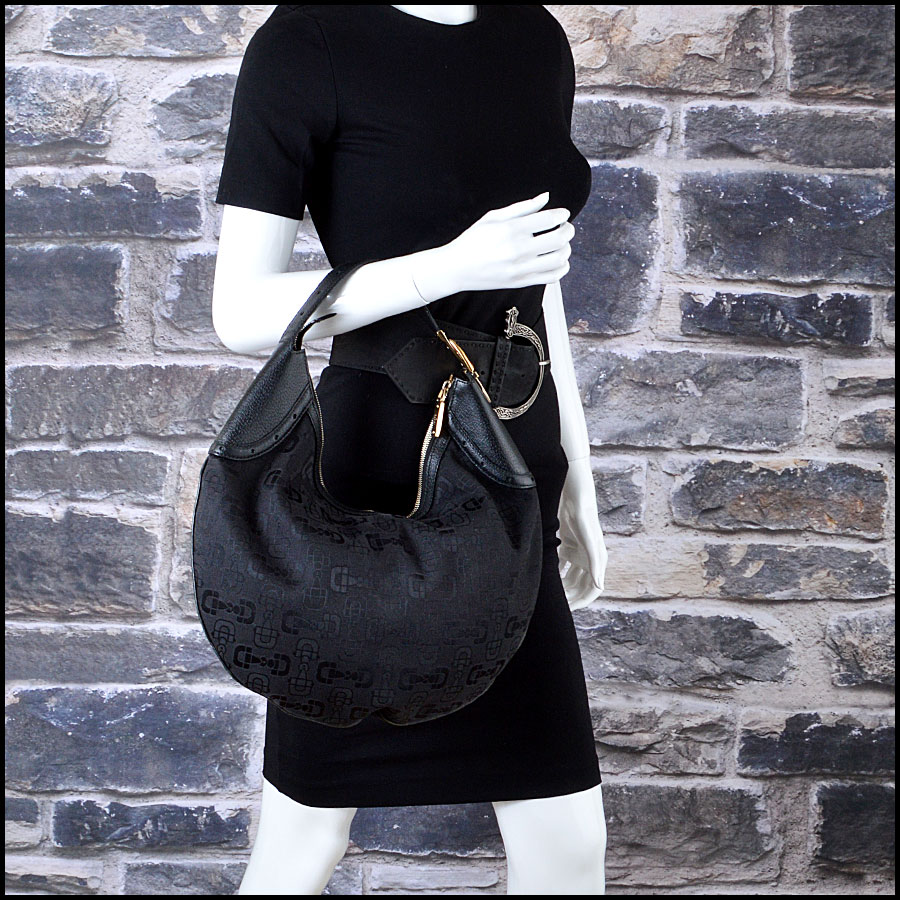 Gucci Black Horsebit Hobo Bag Mannequin