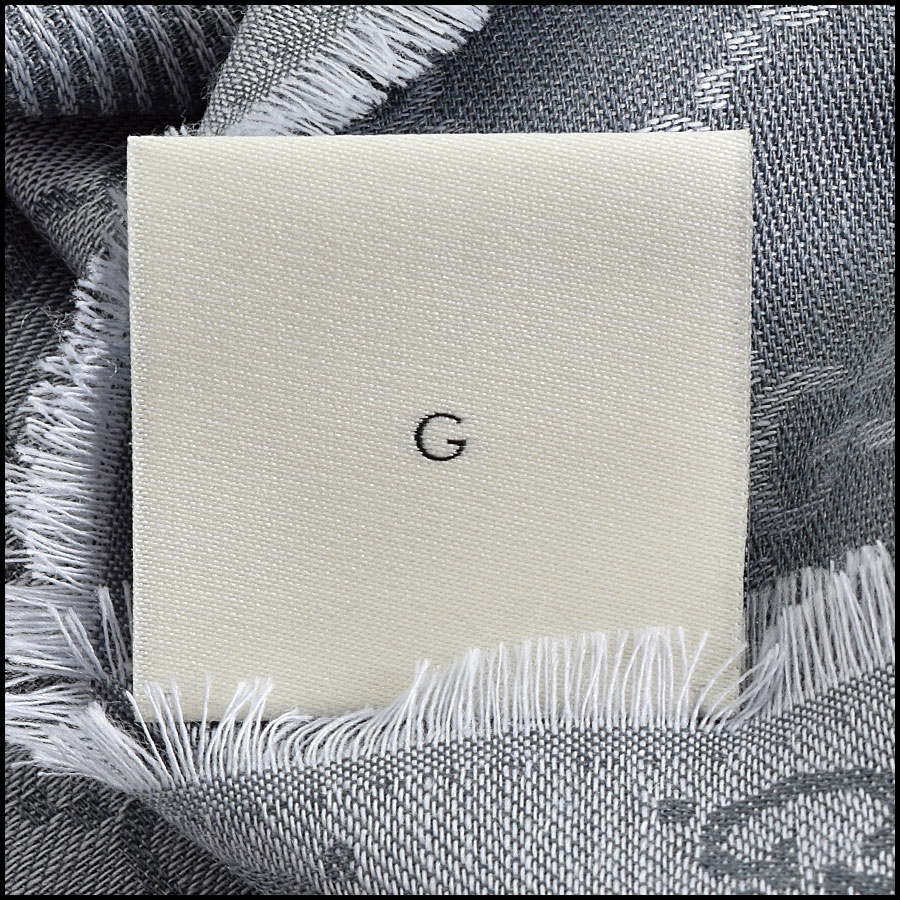 RDC9496 Gucci Light Grey GG Monogram Wool Stole tag 2