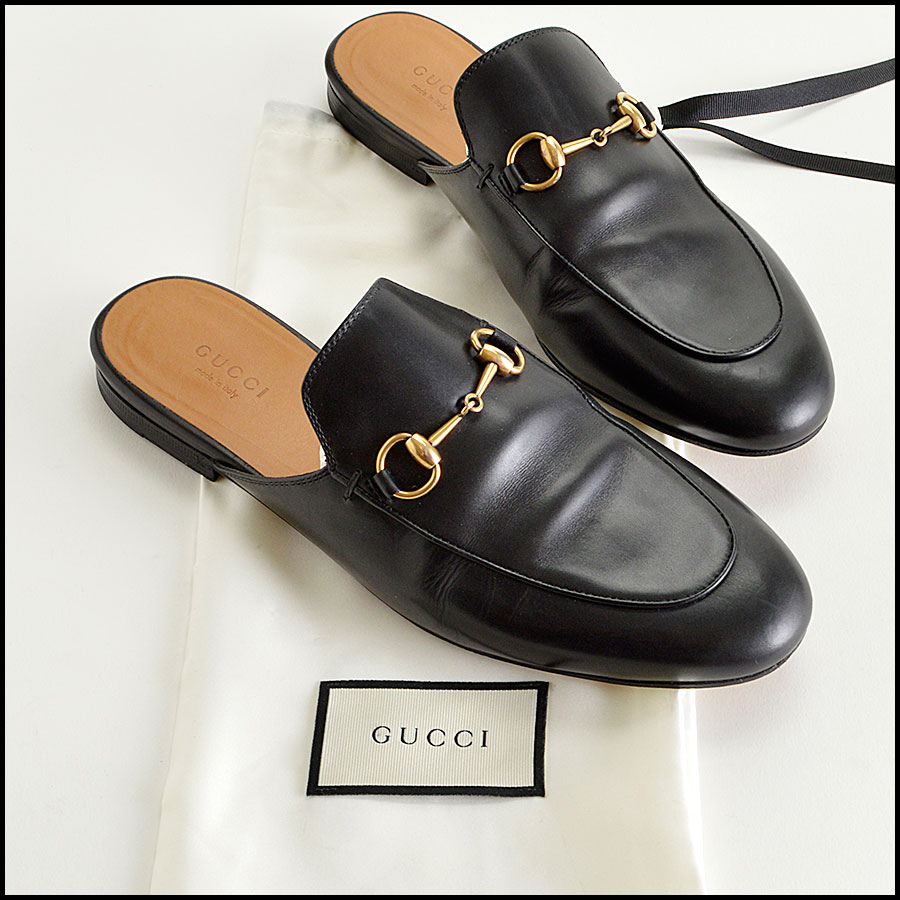 RDC8183 Gucci Black Princetown Horsebit loafers
