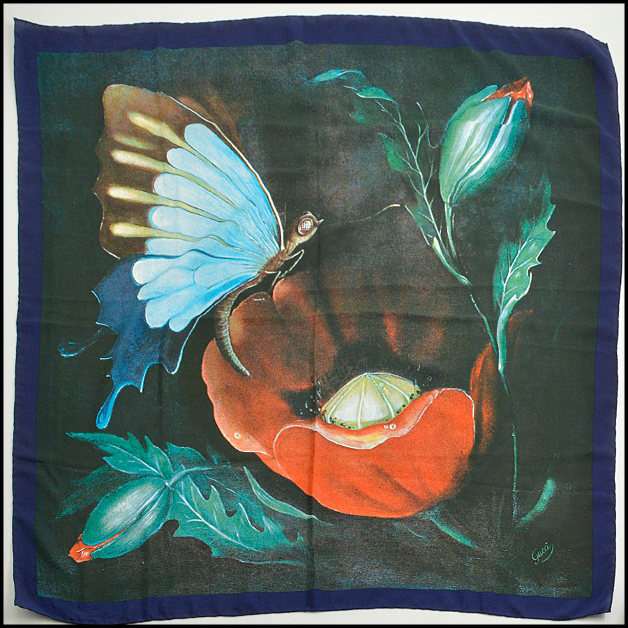 RDC8902 Gucci Butterfly and Poppy Scarf