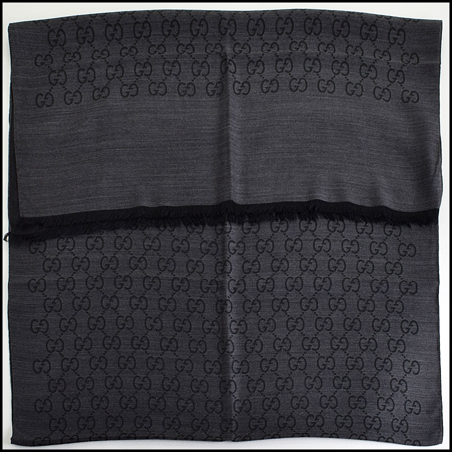 RDC9493 Gucci Grey and Black GG Monogram Wool Stole