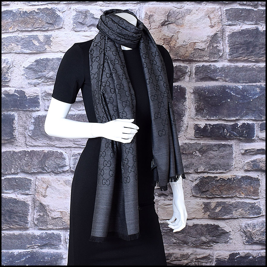 RDC9493 Gucci Grey and Black GG Monogram Wool Stole  model