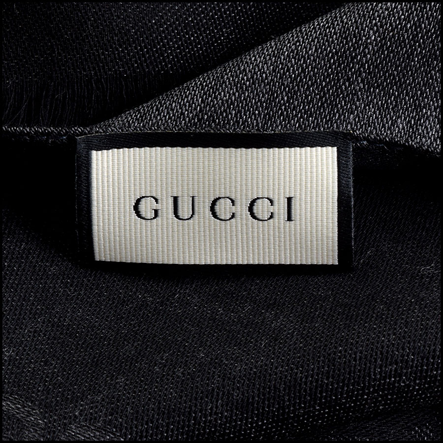 RDC9493 Gucci Grey and Black GG Monogram Wool Stole  tag 1
