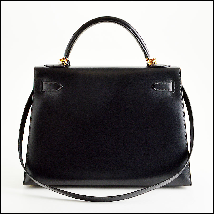 RDC7897 Hermes Black Box leather sellier kelly back
